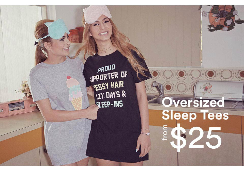 Oversized sleep shirt, $25