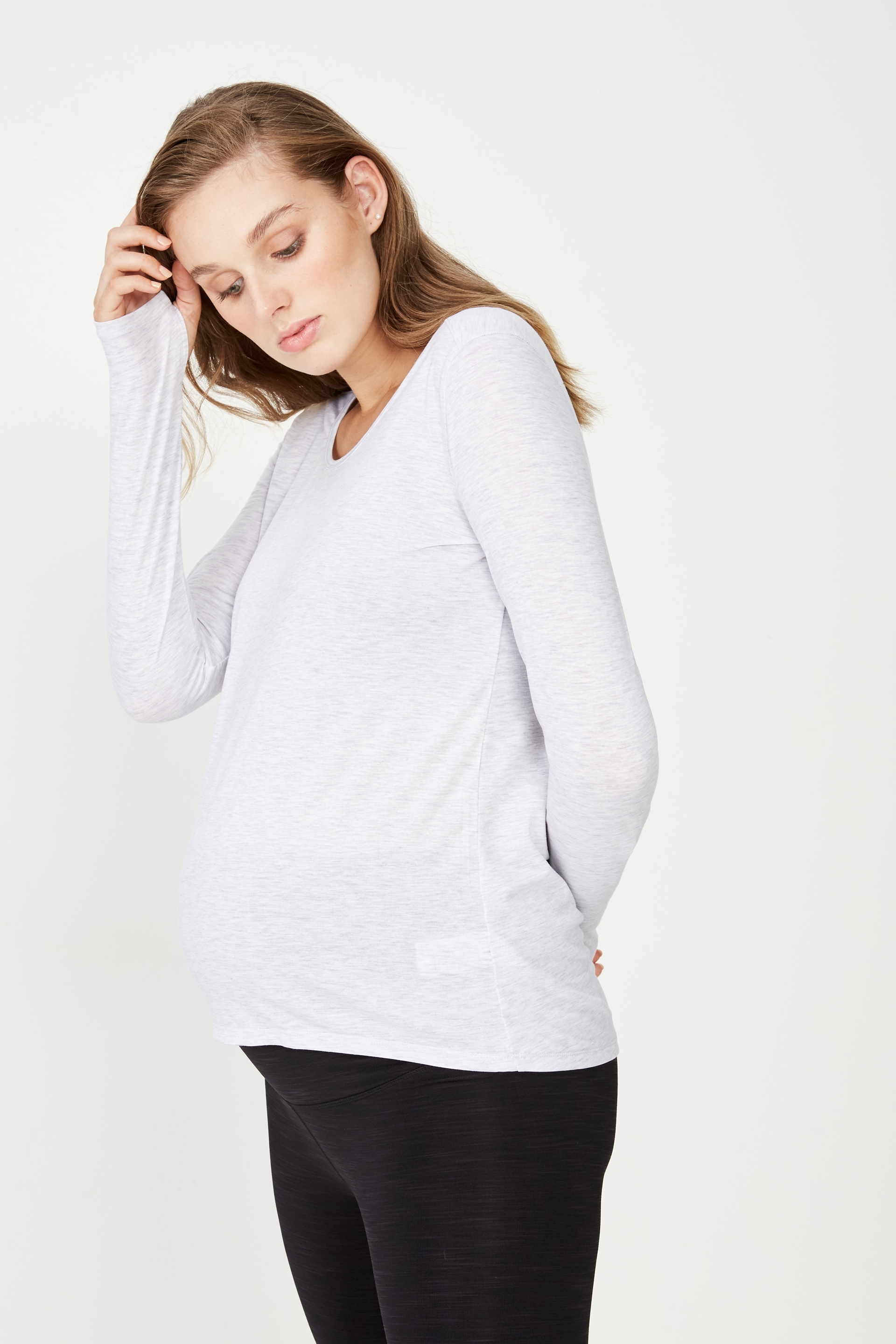 Body - Maternity Long Sleeve Sports Top - Grey marle 9352403366926