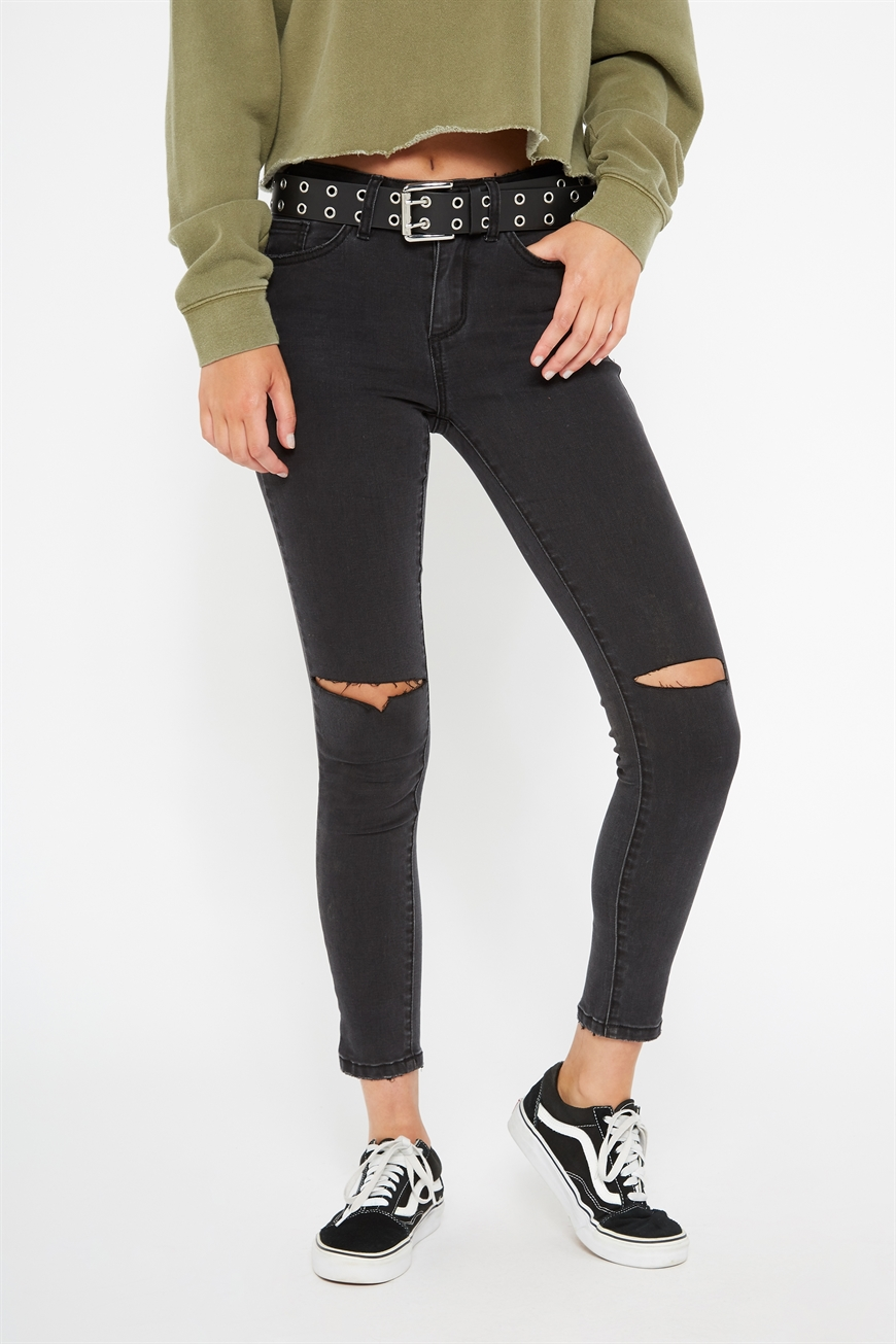 Factorie - Mid Rise Skinny Jeans - Thrift black crop worn 9352403128654