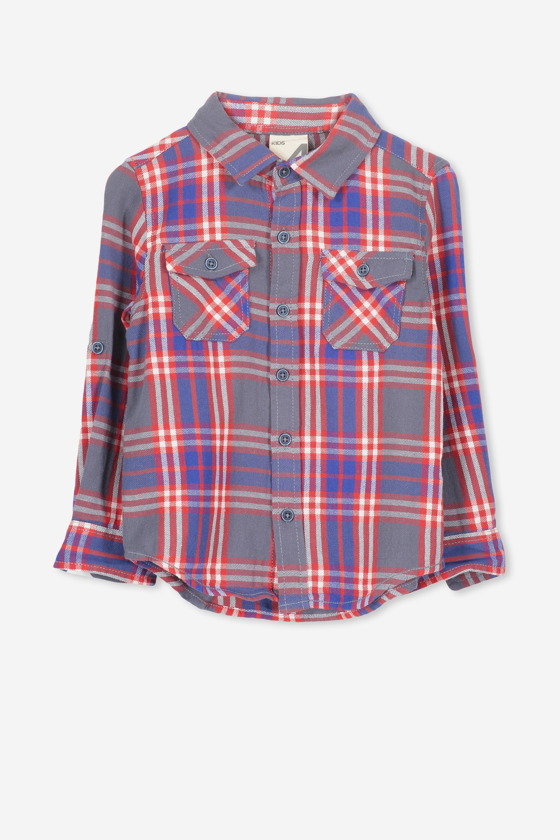 Cotton On Kids  Noah Long Sleeve Shirt  Washed regata multi check