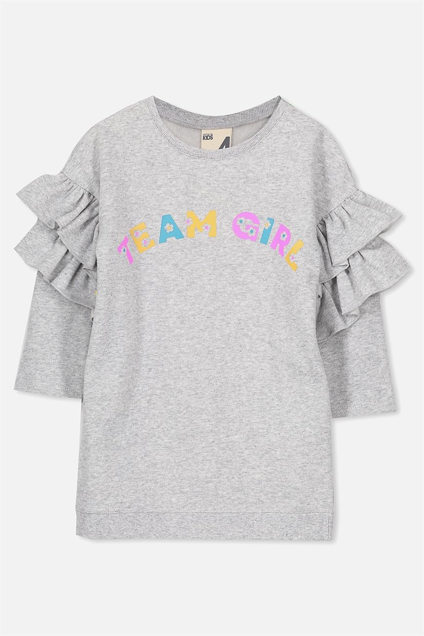 Cotton On Kids - Andrea Frill Sleeve Dress - Light grey marle/team girl 9352403326784