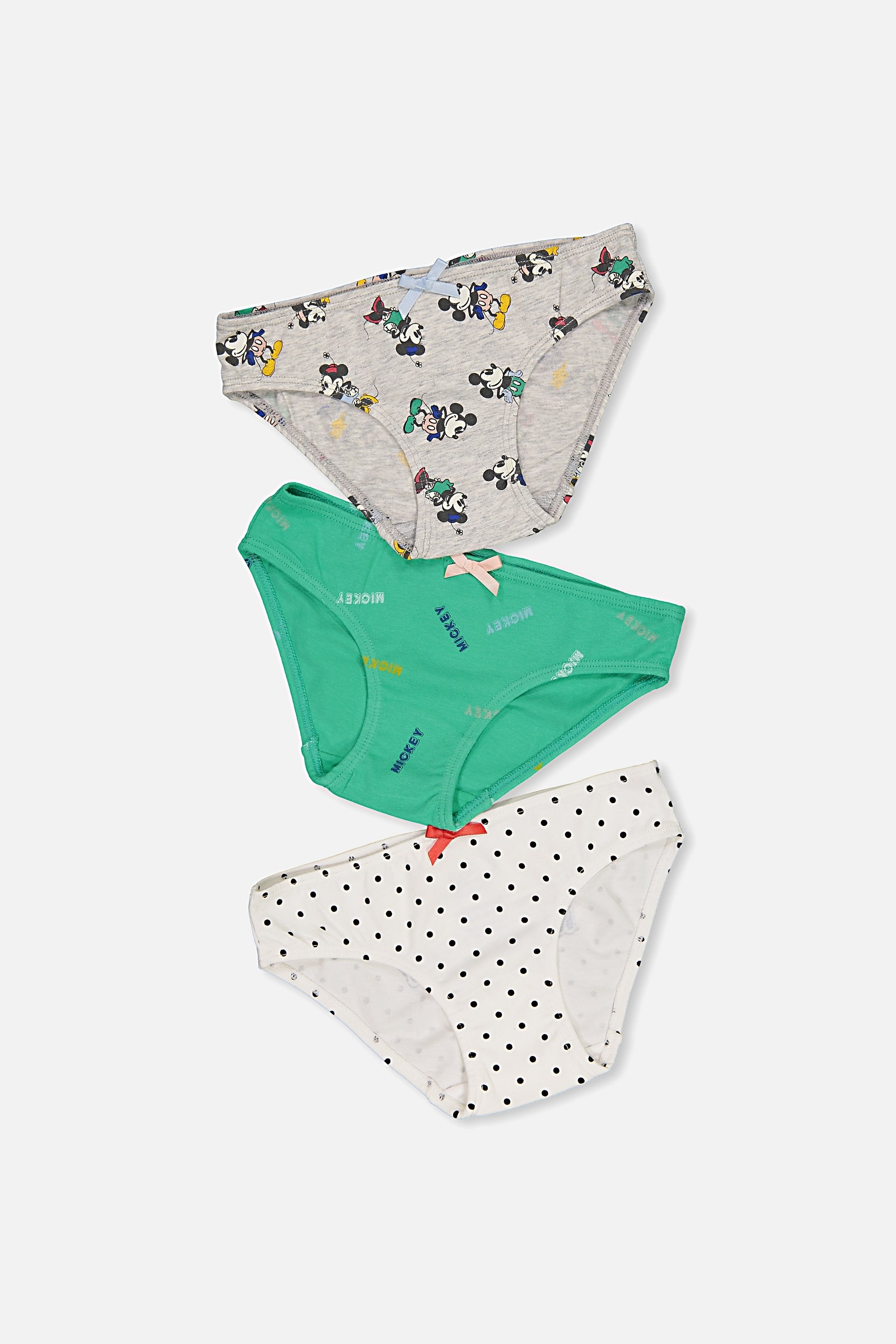 Cotton On Kids  Mickey Mouse Girls 3 Pack Undies  Mickey mouse