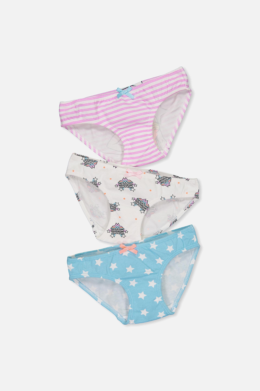 Cotton On Kids - Girls 3Pk Licence Undies - Girls rule the world mix 9352855019418