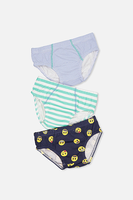 Cotton On Kids  Boys License Brief 3 Pack  Emoji ok mix
