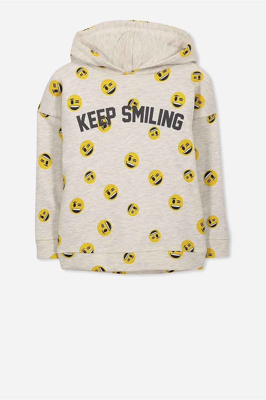 Cotton On Kids - License Dropped Shoulder Hoodie - New oatmeal/keep smiling 9352855246630