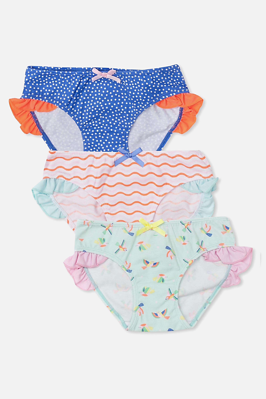 Cotton On Kids  Girls Ruffle Undie Pack V2  Many birds mix