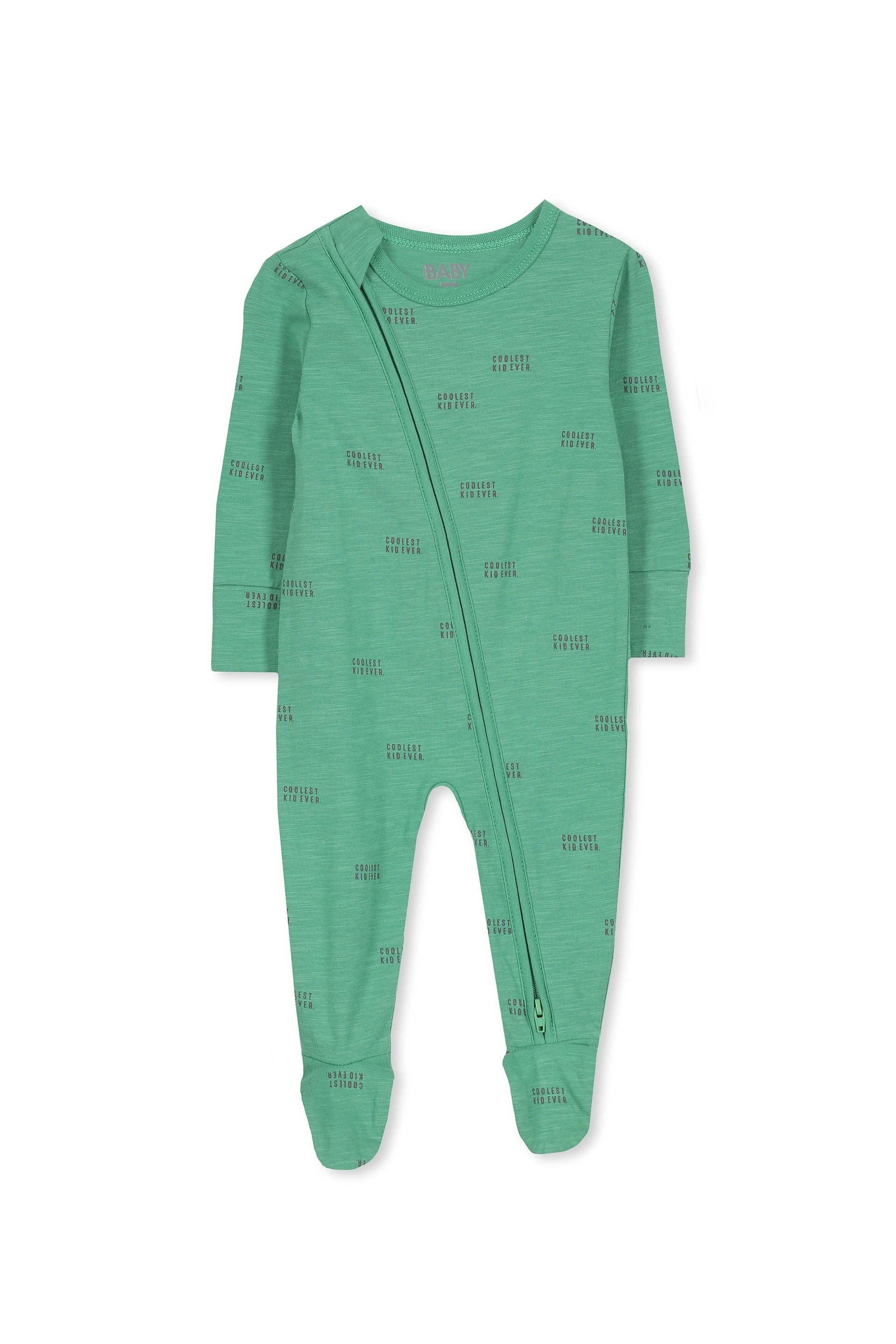Cotton On Kids - Sleep Mini Zip All In One Jumpsuit - Washed green/coolest kid ever