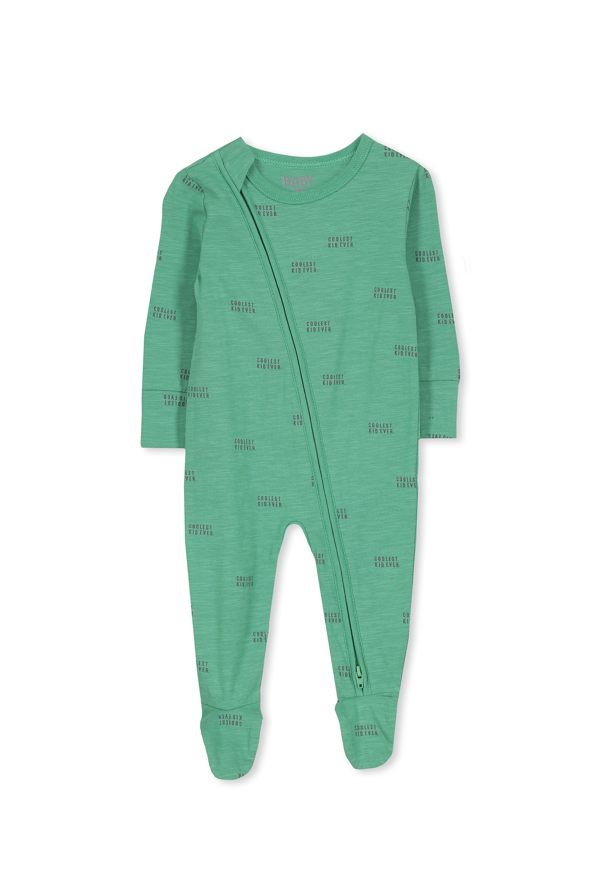 Cotton On Kids - Sleep Mini Zip All In One Jumpsuit - Washed green/coolest kid ever 9352403111342