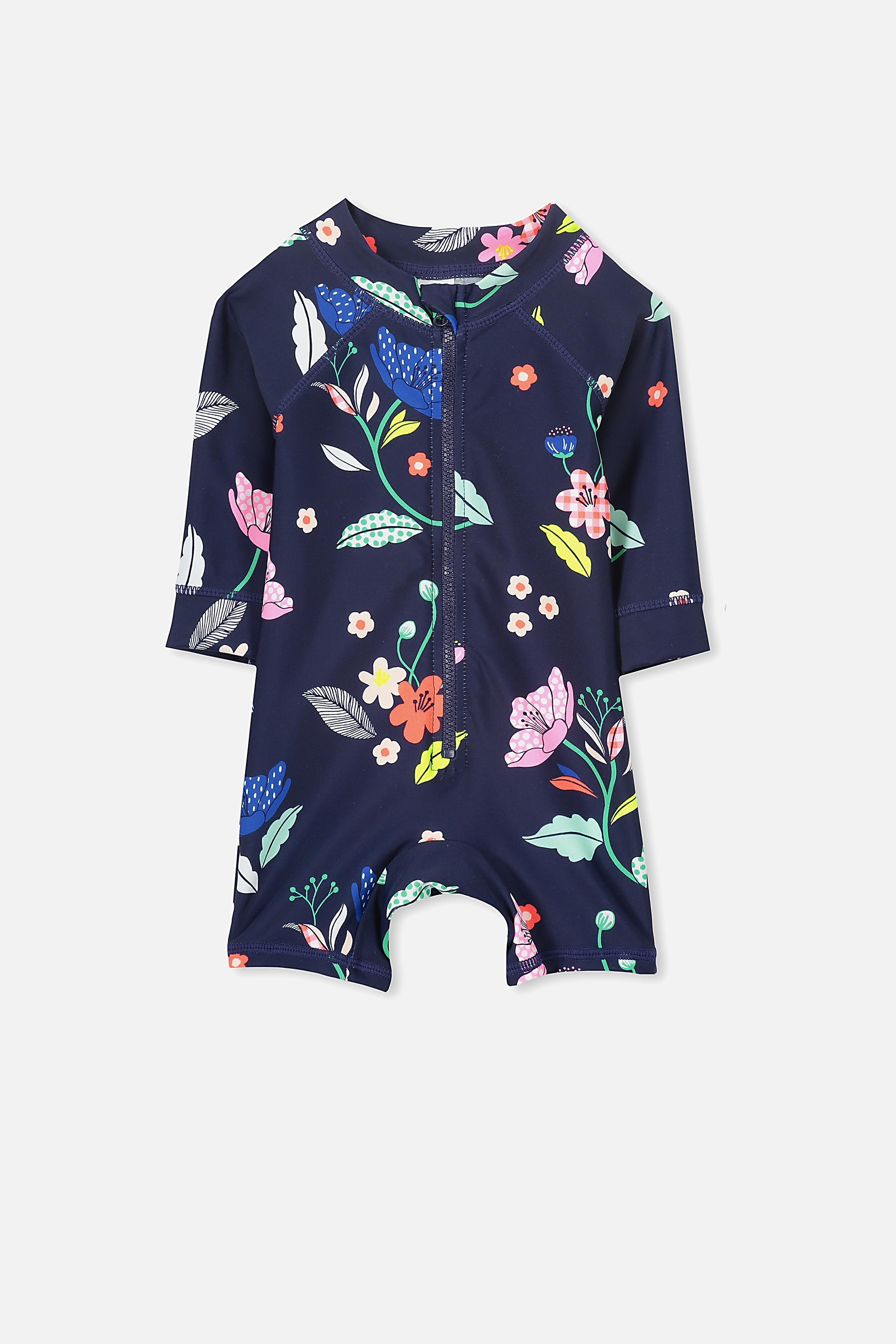 Cotton On Kids - Harris One Piece - Peacoat/bright floral 9352403313388