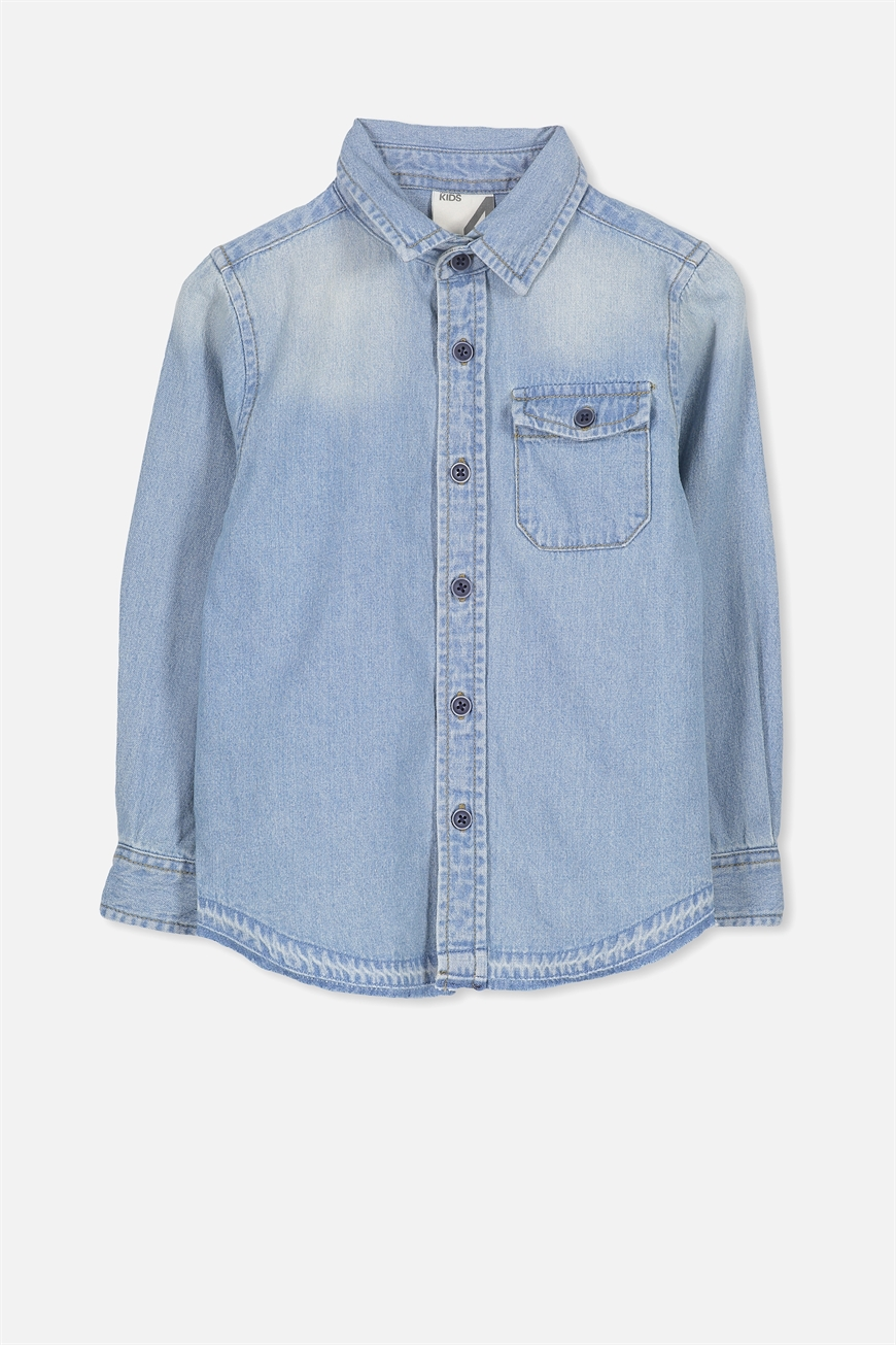 Cotton On Kids  Noah Long Sleeve Shirt  Washed chambray