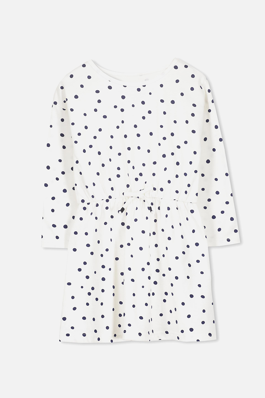 Cotton On Kids - Pearl Long Sleeve Dress - Vanilla/peacoat spot 9352855175435