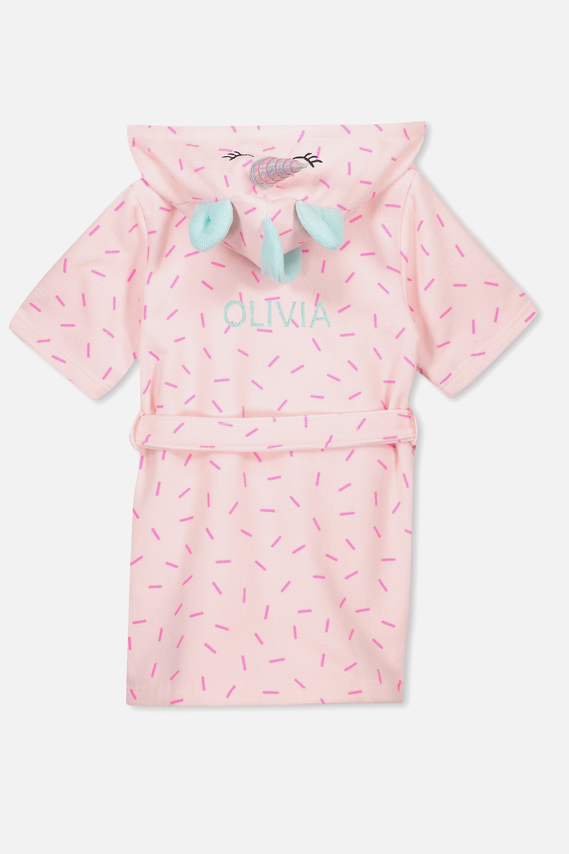 8a864b32d65c7 Personalised Girls Hooded Terry Gown, SPECKLED UNICORN PERSONALISED