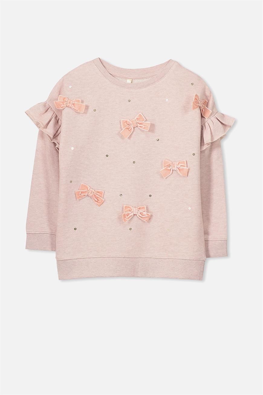 Cotton On Kids - Lexi Dress Up Fleece - Dusty rose grey marle/bows 9352855296291