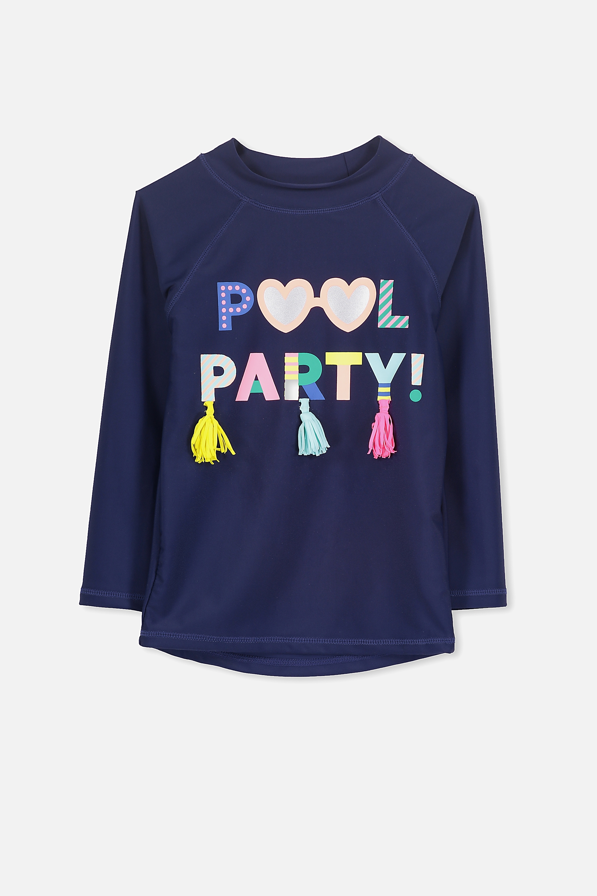 Cotton On Kids - Pool Party Tassel Hamilton Long Sleeve Rash Vest - Peacoat/pool party 9352403941932