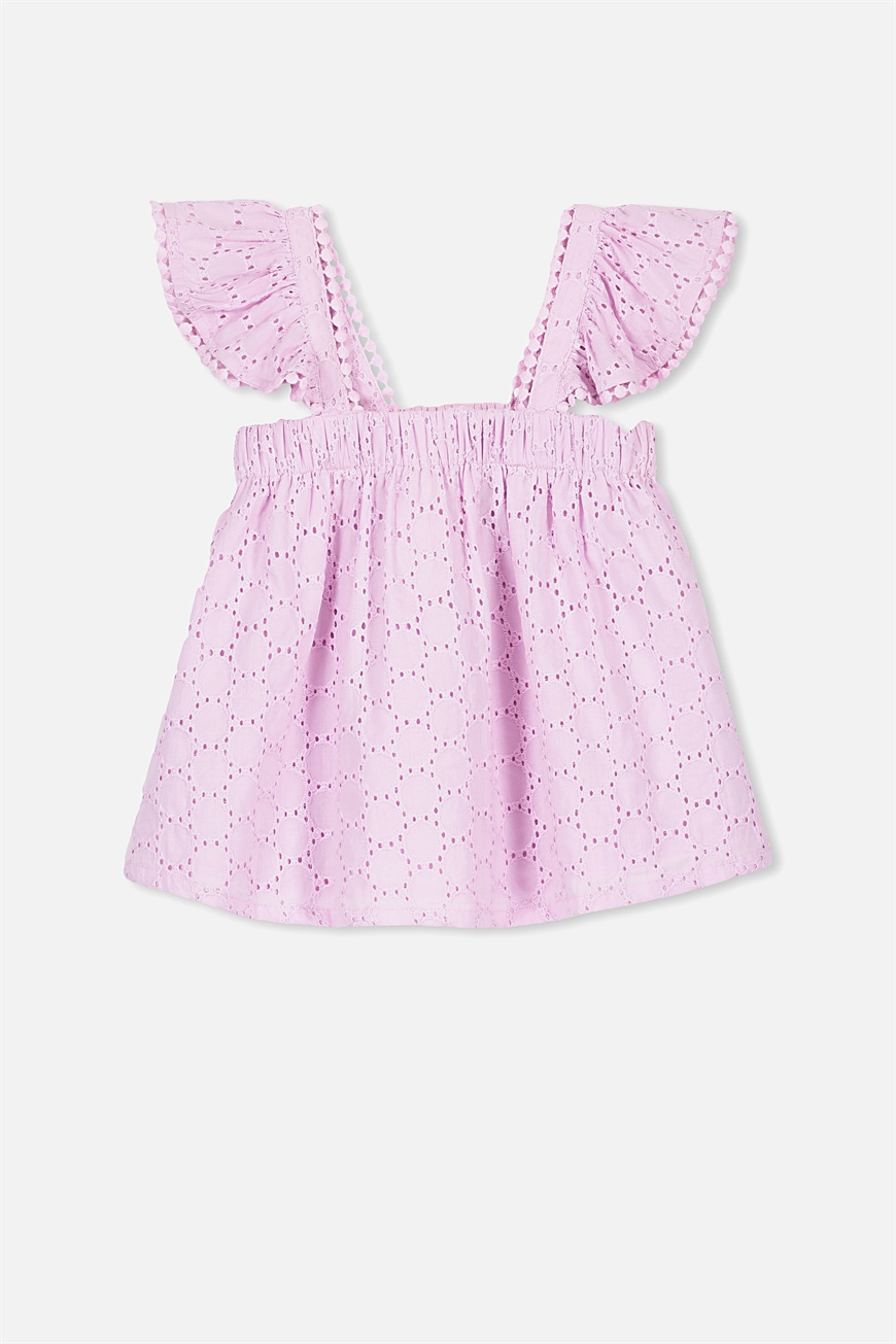 Cotton On Kids - Ida Broderie Top - Lilac sorbet 9353699053729