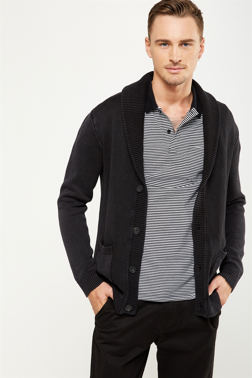 Cotton On Men - Rugged Cardi Knit - Washed black 9352403443818