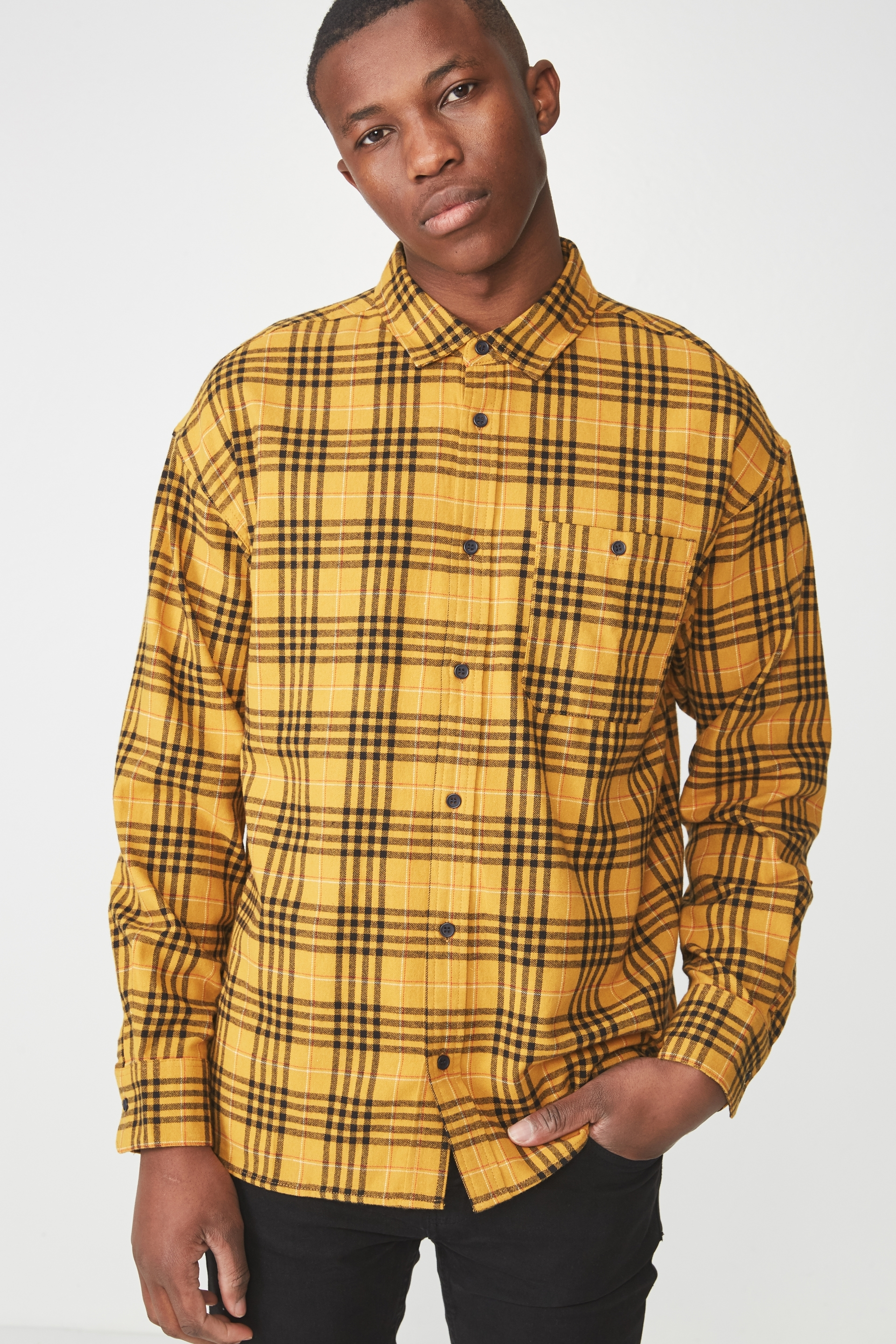 Cotton On Men - Rugged Long Sleeve Shirt - Yellow check 9352403571757