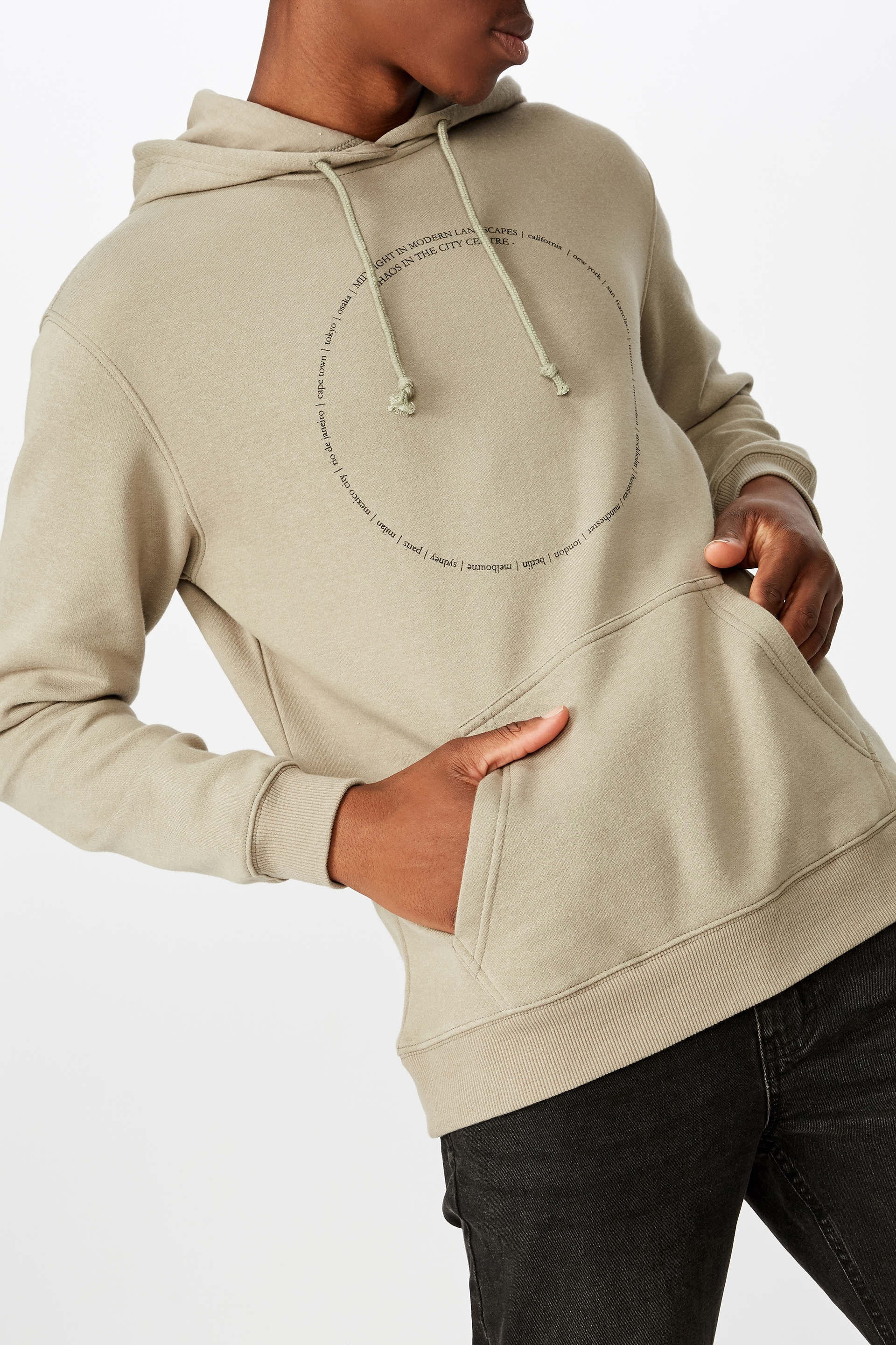 Cotton On Men - Fleece Pullover 2 - Moss stone/modern landscapes