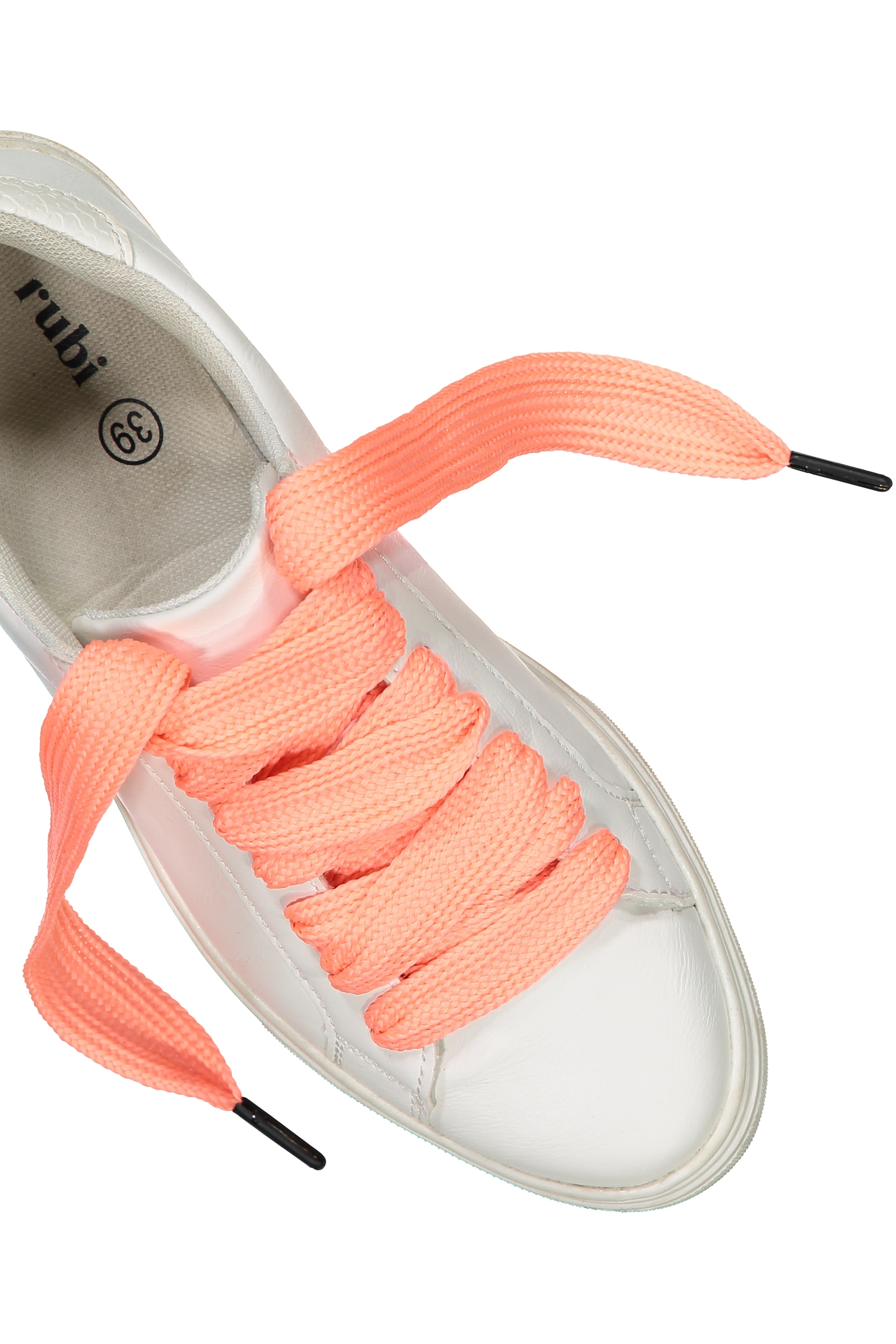 Rubi - Laced Up Shoelaces - Coral herringbone