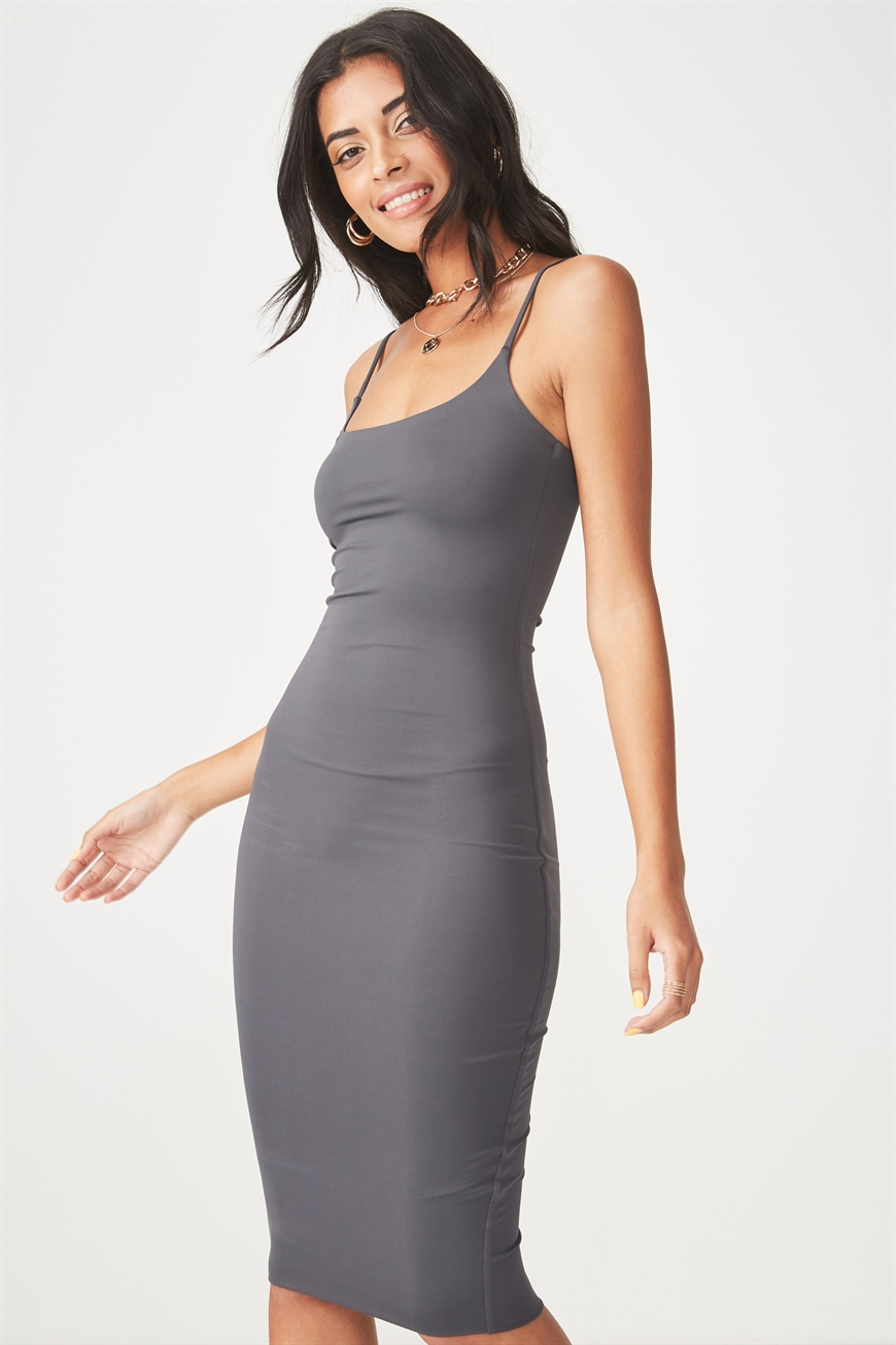 Supré - Party Thin Strap Midi Dress - Charcoal 9352855774256