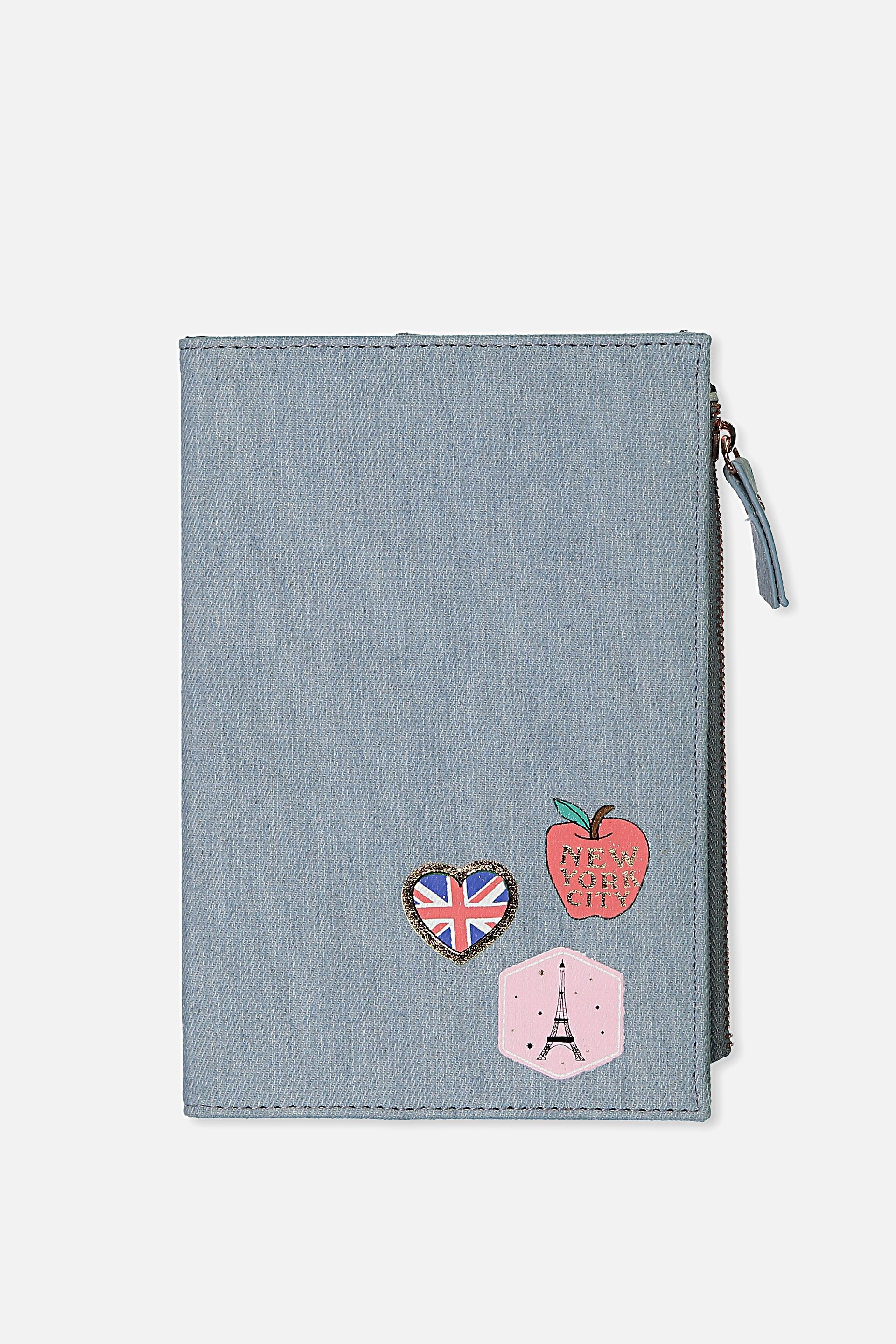 Typo - Travel Zip Journal - Chambray travel patches