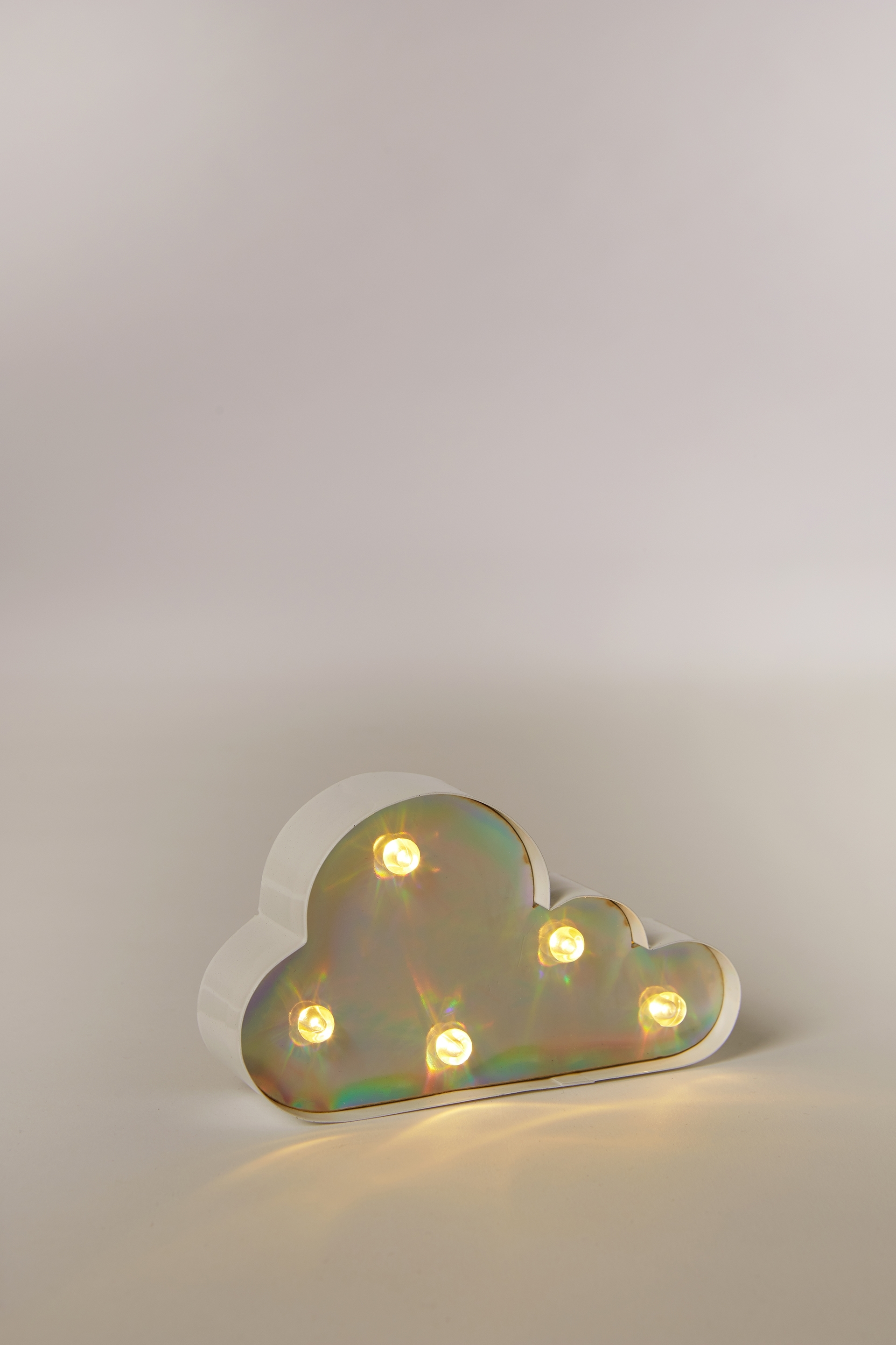Typo Shaped Mini Marquee Light Holographic Cloud