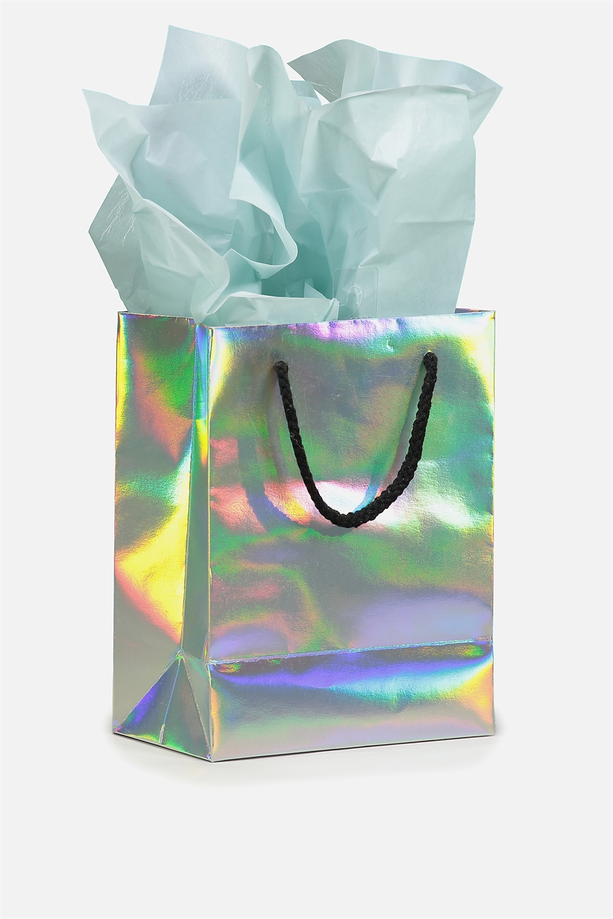 Small Gift Bag With Tissue Paper Iridescent