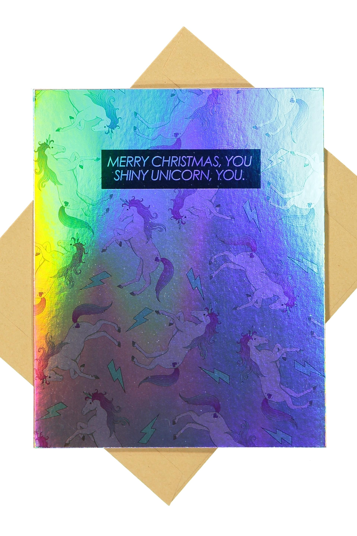 Typo - Christmas Cards 2017 - Holographic shiny unicorn