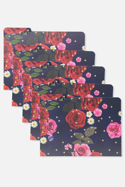 Typo - Manila Folders 5Pk - Navy floral 9352855319266