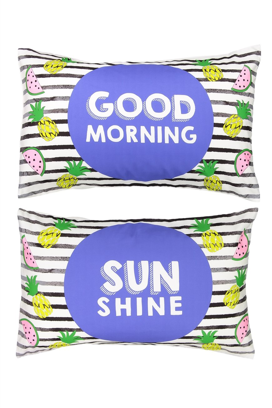 Typo - Novelty Pillow Cases Set Of 2 - Tropical morning 9351785126098