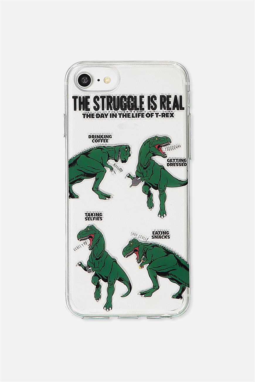 Typo - Transparent Phone Cover Universal 6,7,8 - T rex struggle 9353699249207