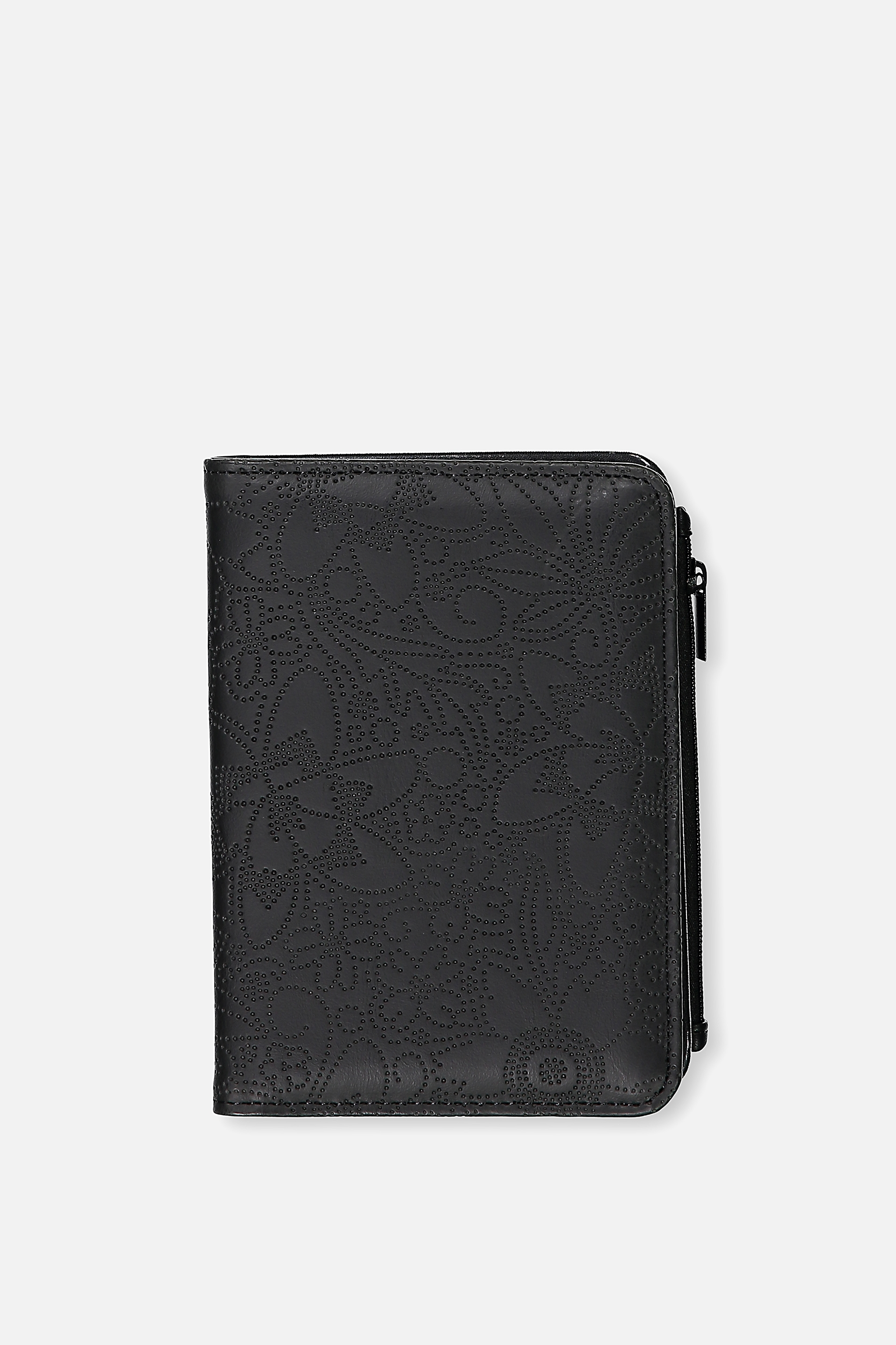 Typo - Classic Passport Holder - Black floral perf 9352403569938