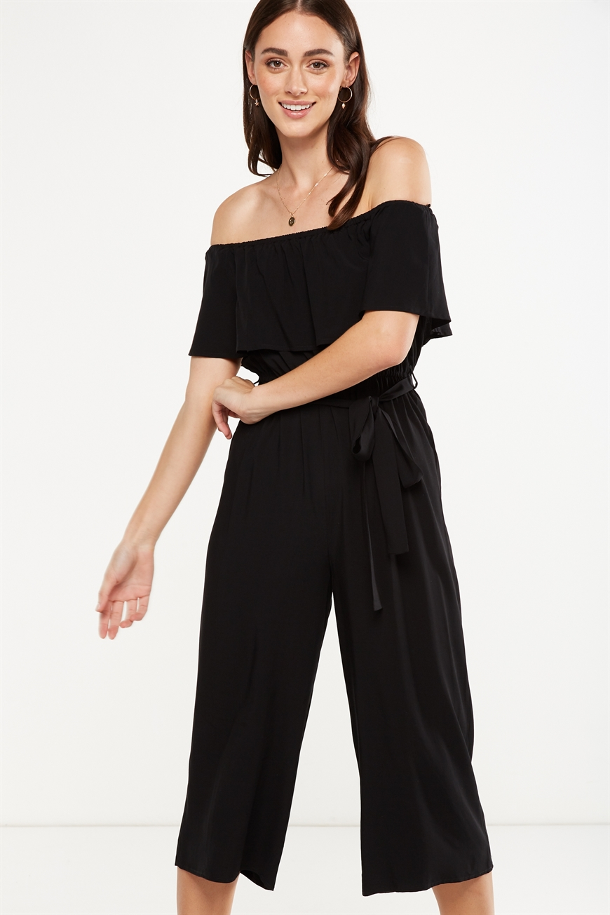 b97e540cf5 Cotton On Women - Woven Betty Frill Bandeau Culotte Jumpsuit - Black