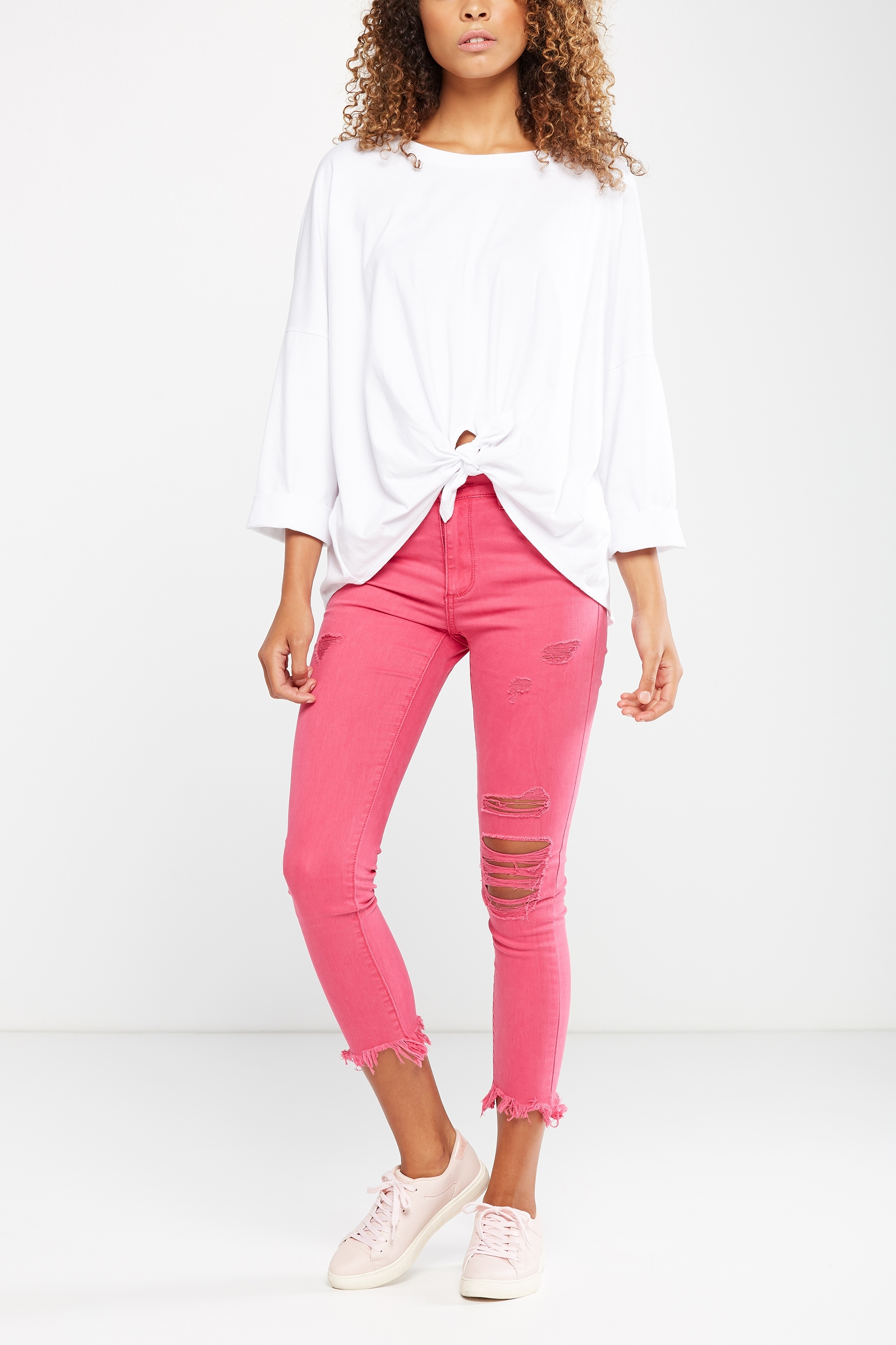 Cotton On Women - Mid Rise Grazer Skinny Jean - Pink rips