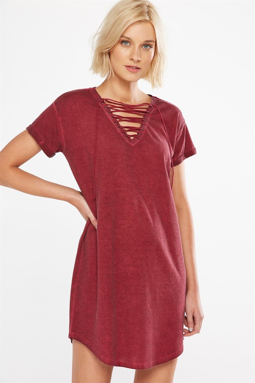 e70bb81f2440 Cotton On Women - Urban Lace Up Mini Tshirt Dress - Ruby red wash