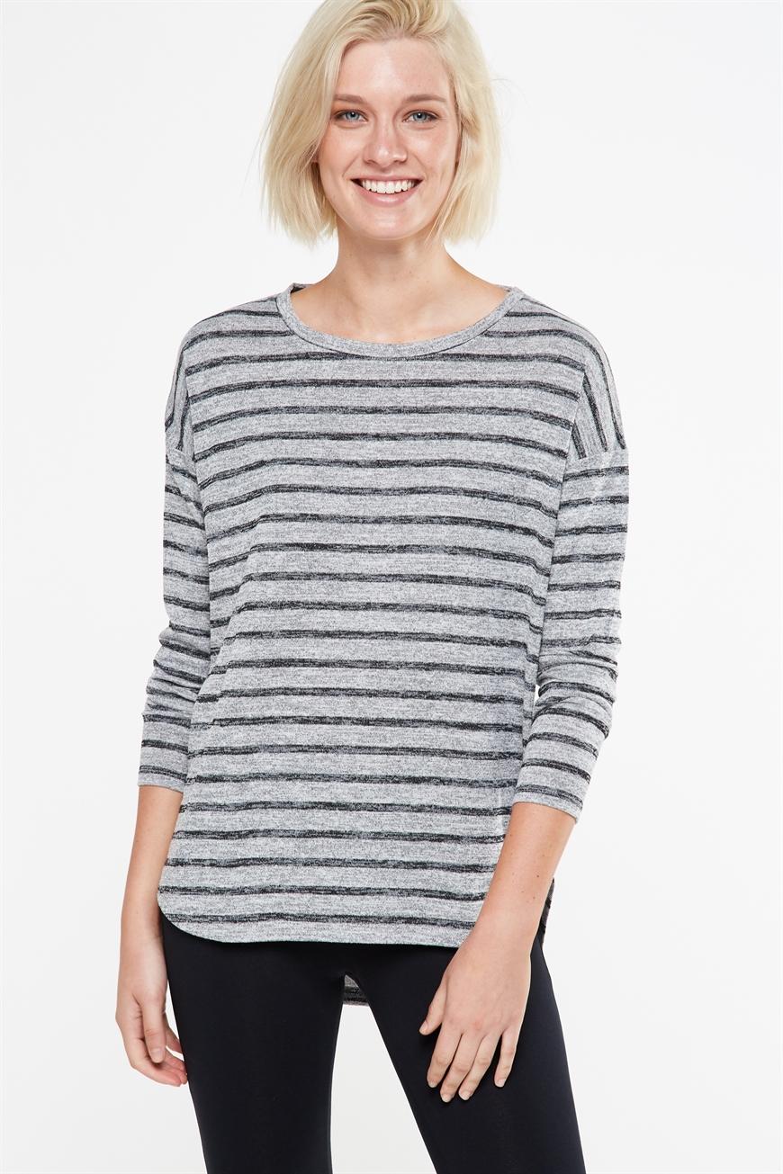 Cotton On Women - Kelly Long Sleeve Top - Grey salt and pepper stripe 9352403827274