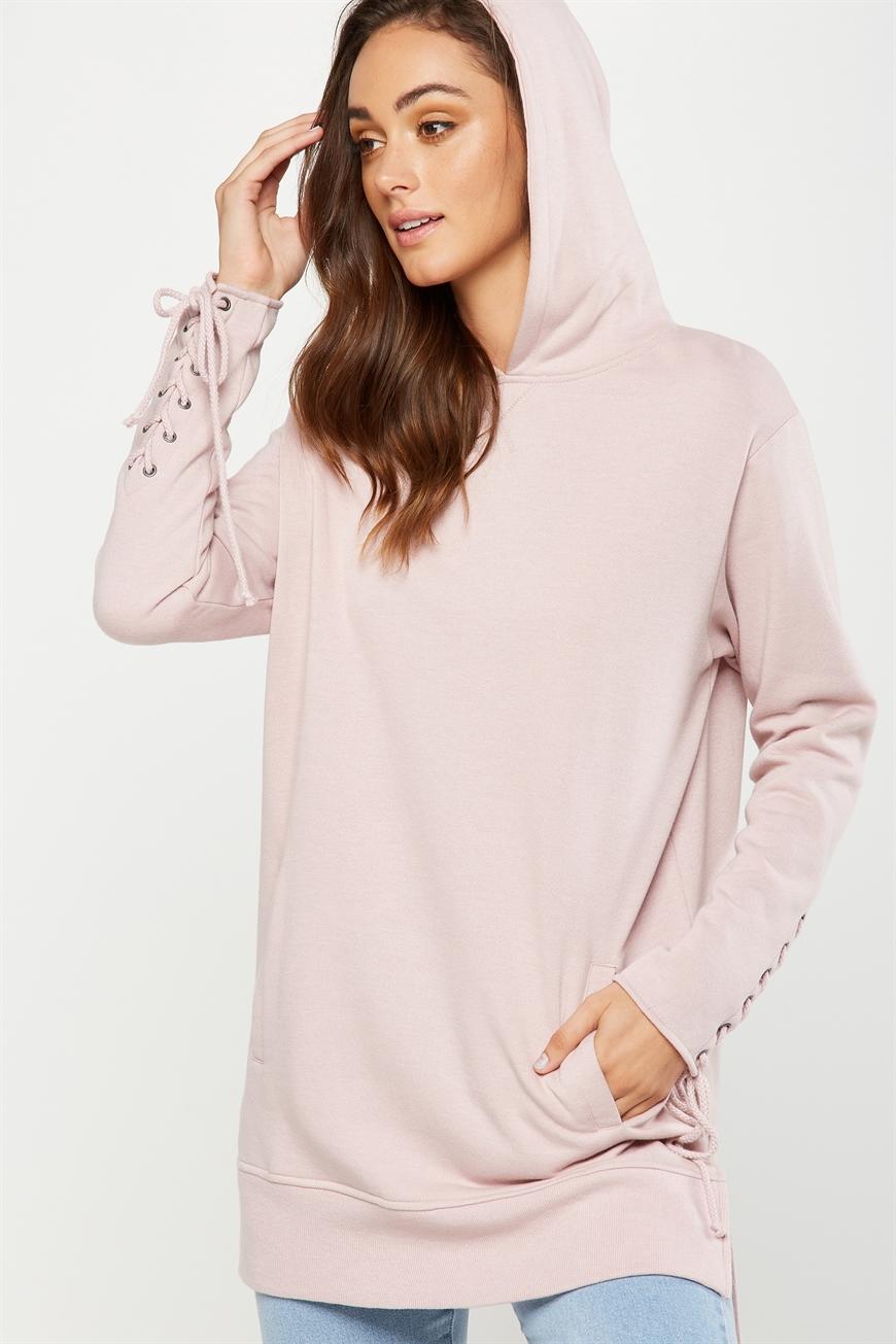 Cotton On Women - Bindi Longline Lace Up Sweater - Mauvelous 9351785894799
