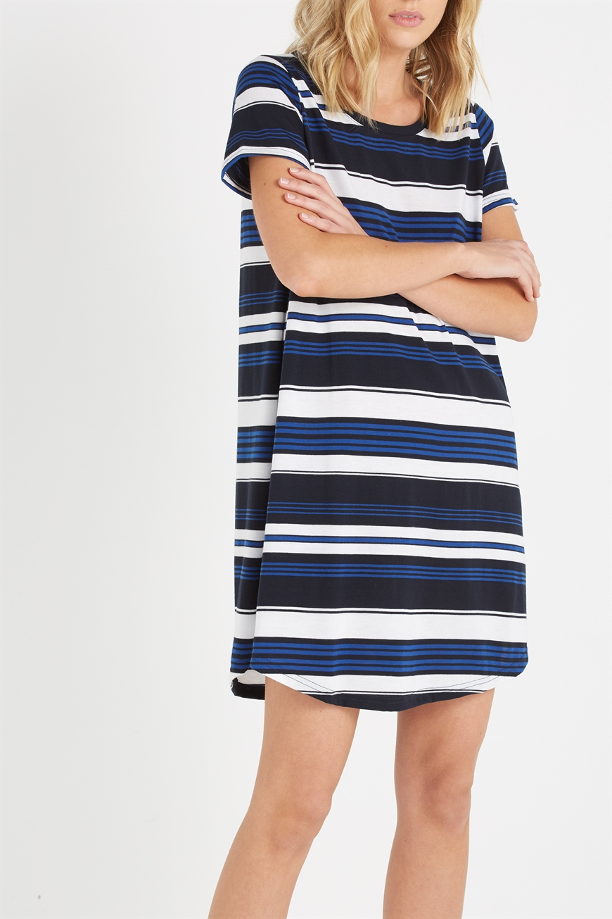Cotton On Women - Tina Tshirt Dress 2 - Pacific stripe white 9351533036273