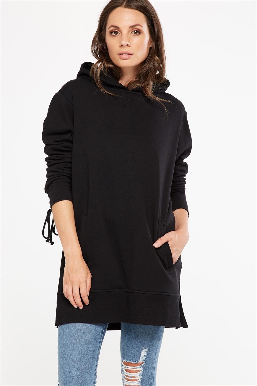 Cotton On Women - Bindi Longline Lace Up Sweater - Black 9351785894676