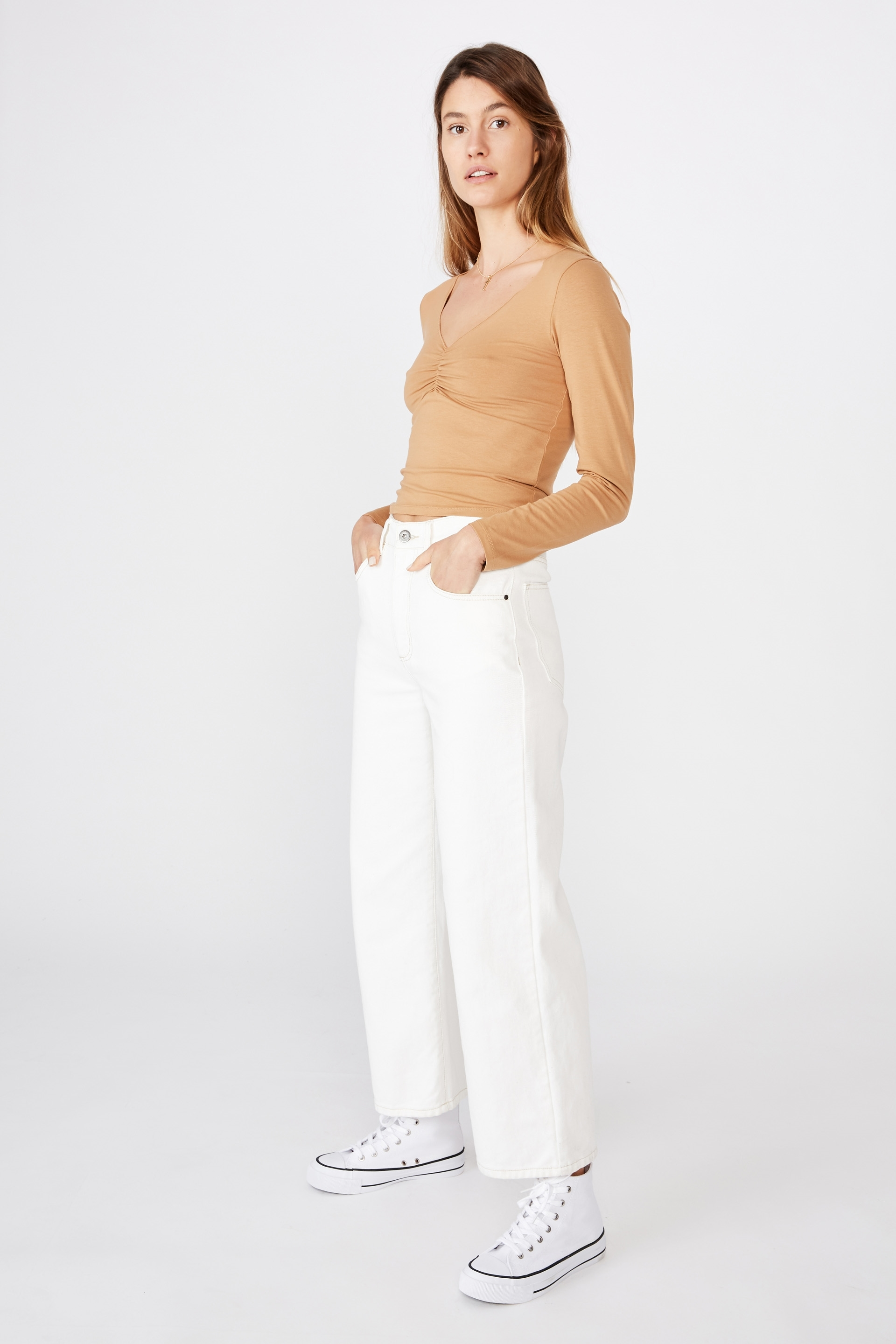 Cotton On Women - Mika Ruched Front Long Sleeve - Biscuit