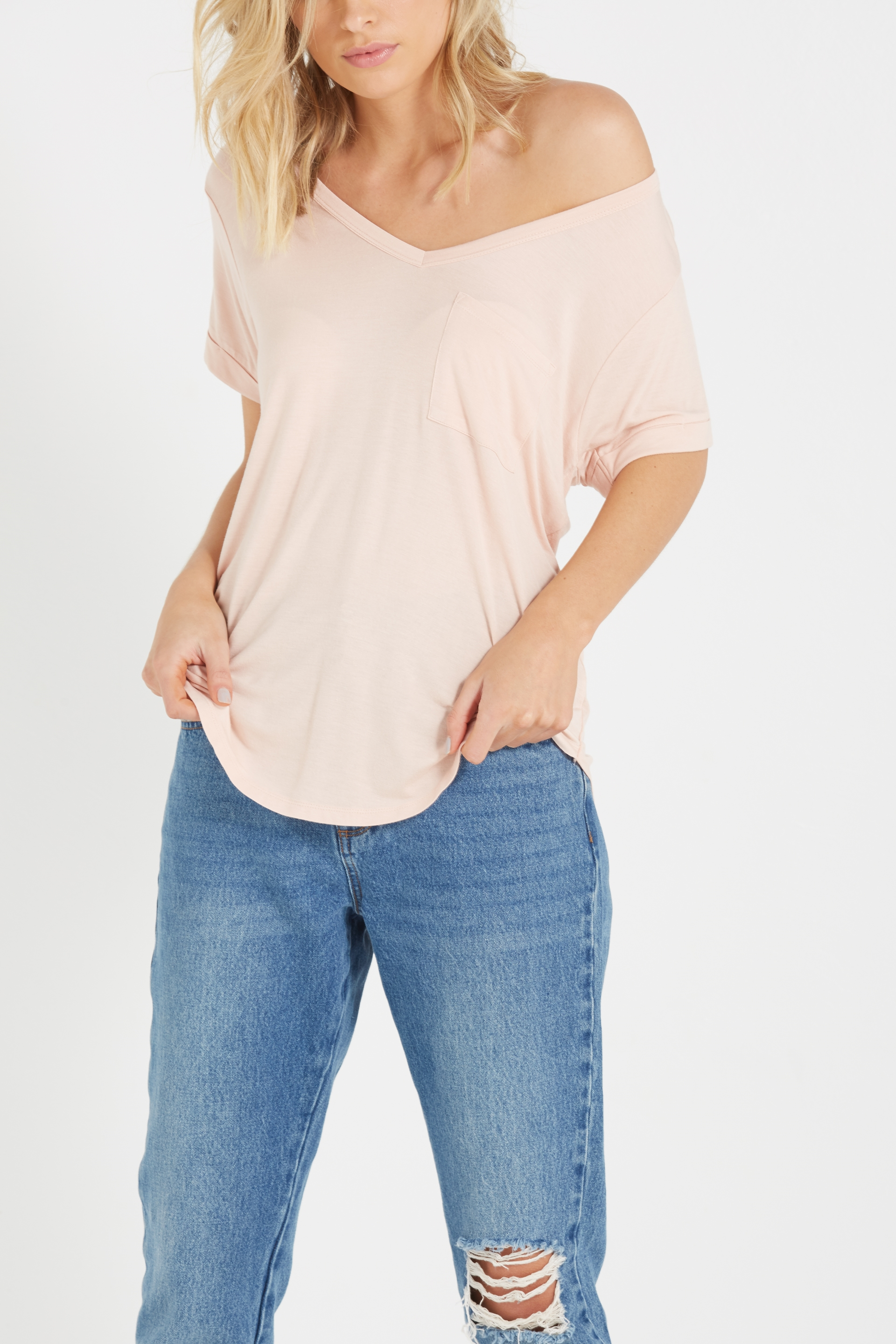Cotton On Women - Karly Short Sleeve V Neck Top - Nude pink 9351785371092