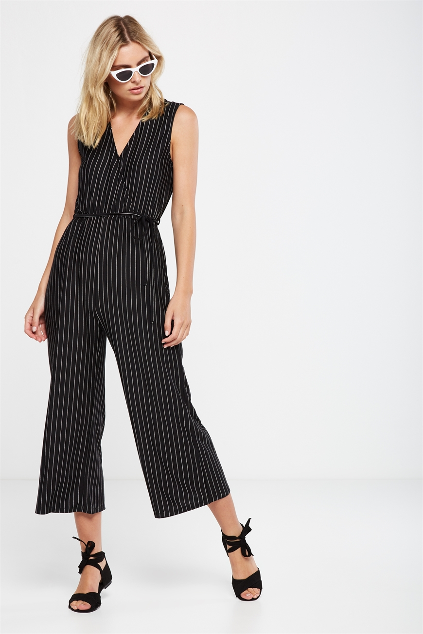 74d86eca2f Cotton On Women - Jersey Joss Culotte Jumpsuit - Black/white pin stripe