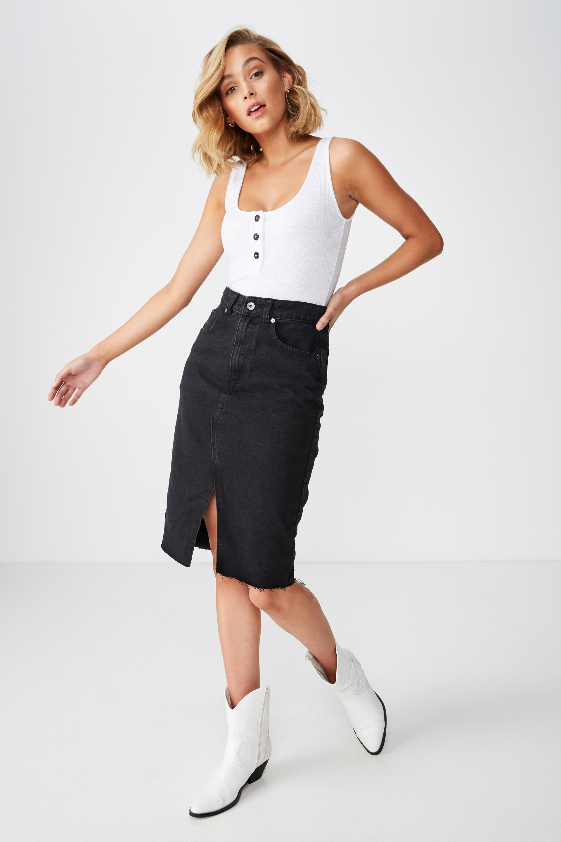 df0154c2a9 Midi Denim Skirt, BLACK