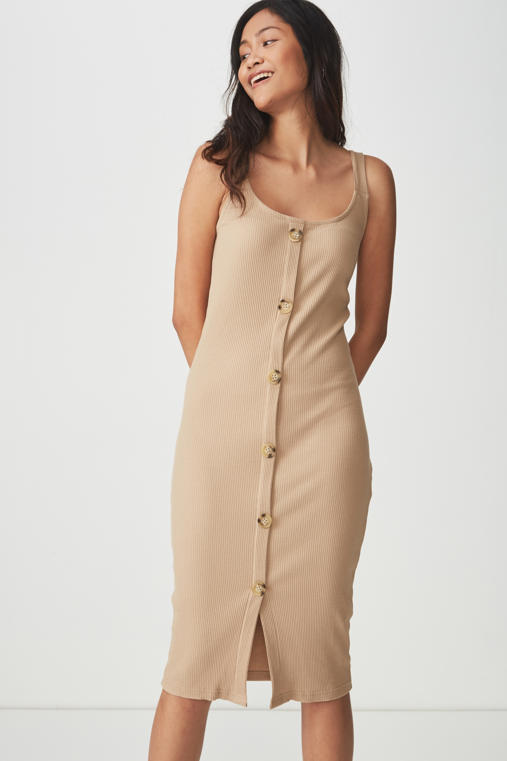 deb0335f17f0e ... Lola Ribbed Button Through Midi Dress, LATTE ...