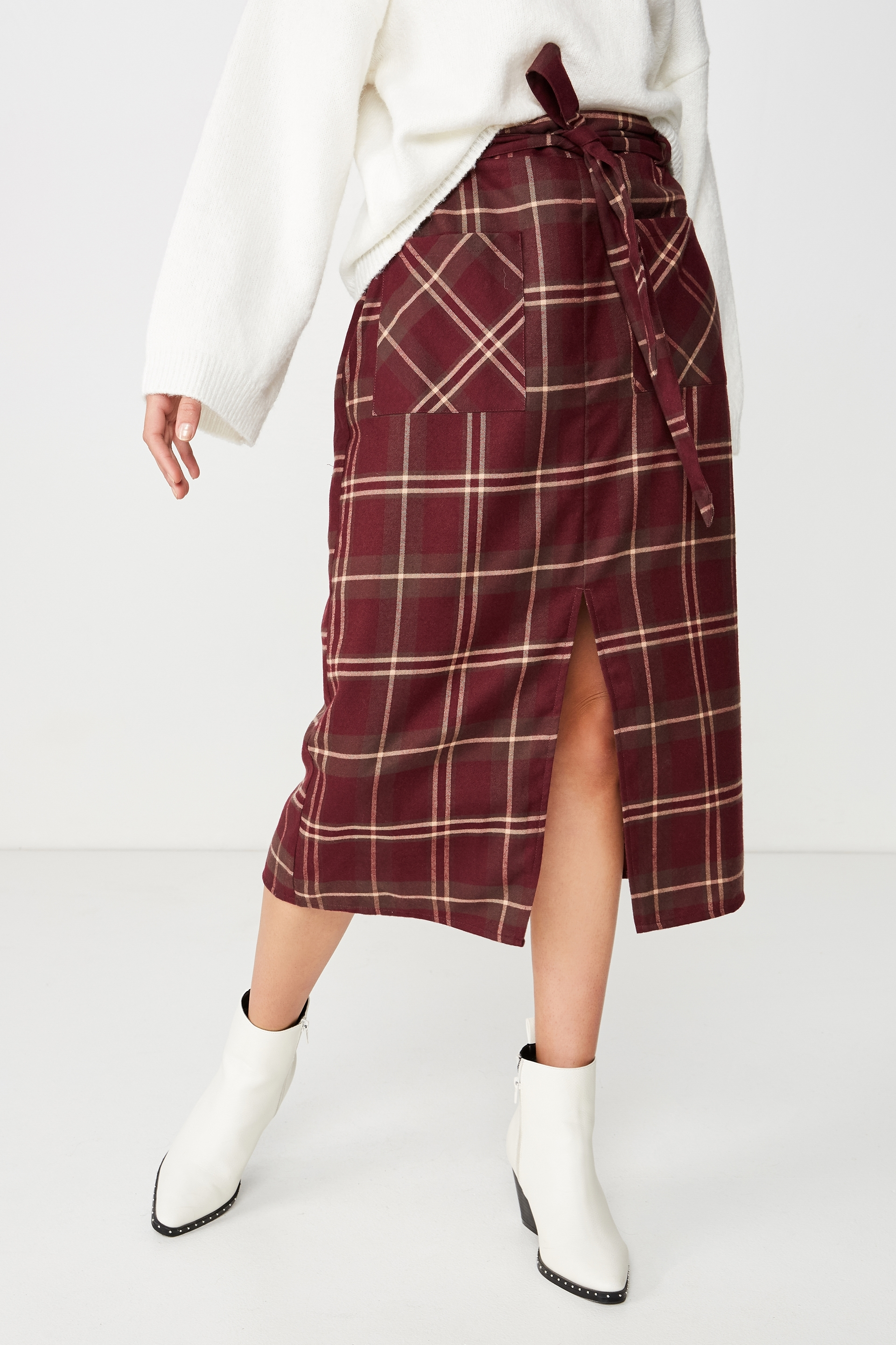2836e53f6 Woven Mindy Midi Skirt, KARLA CHECK FIG