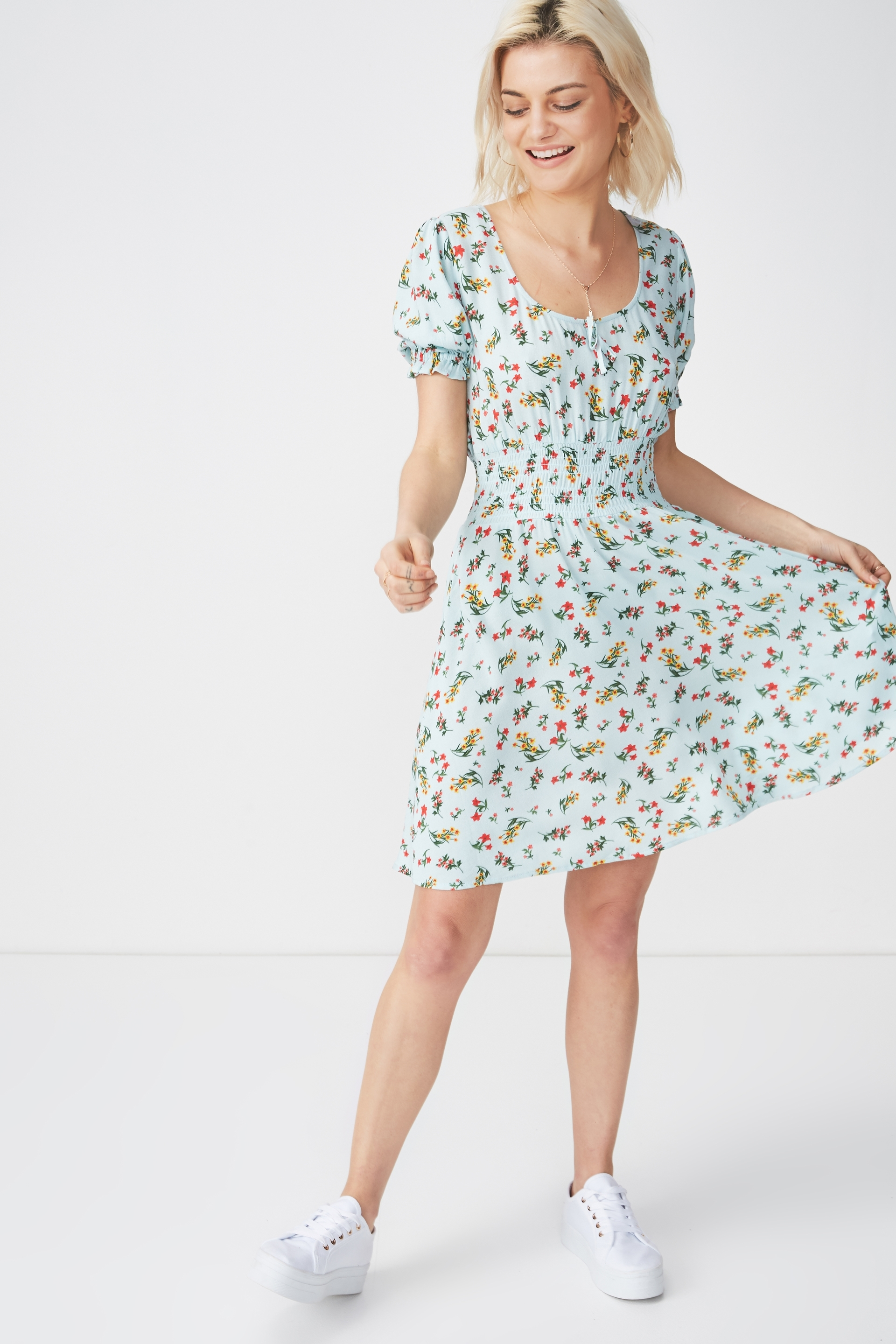 Cotton On Women - Woven Hazel Prairie Cap Sleeve Dress - Melissa floral small pastel blue 9352855617119