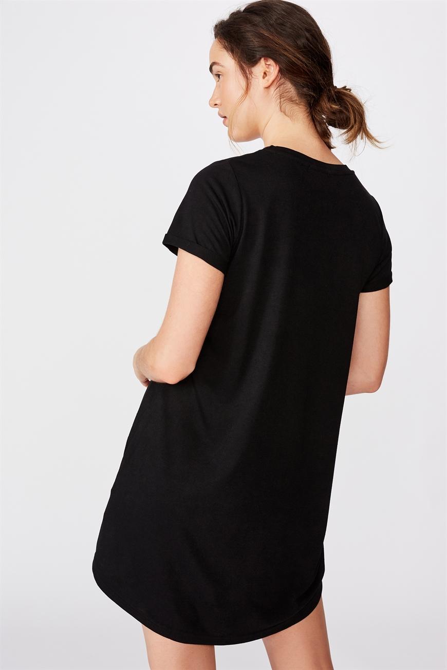 Black cotton tee shirt dress