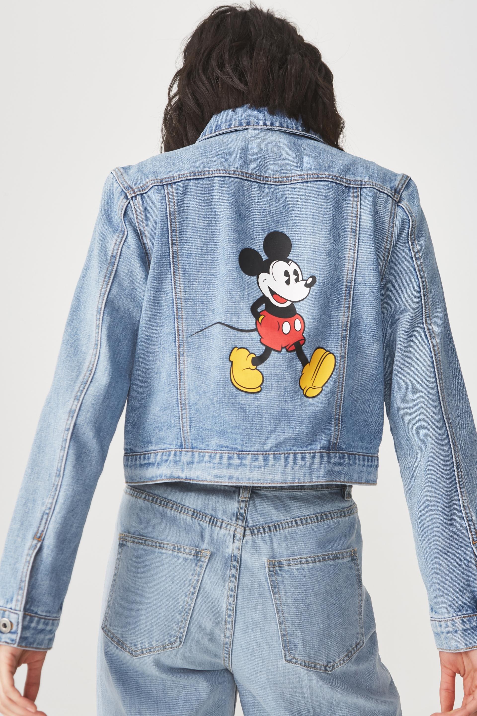 Girlfriend Fashion Denim Jacket Long Hem Mickey Strolling