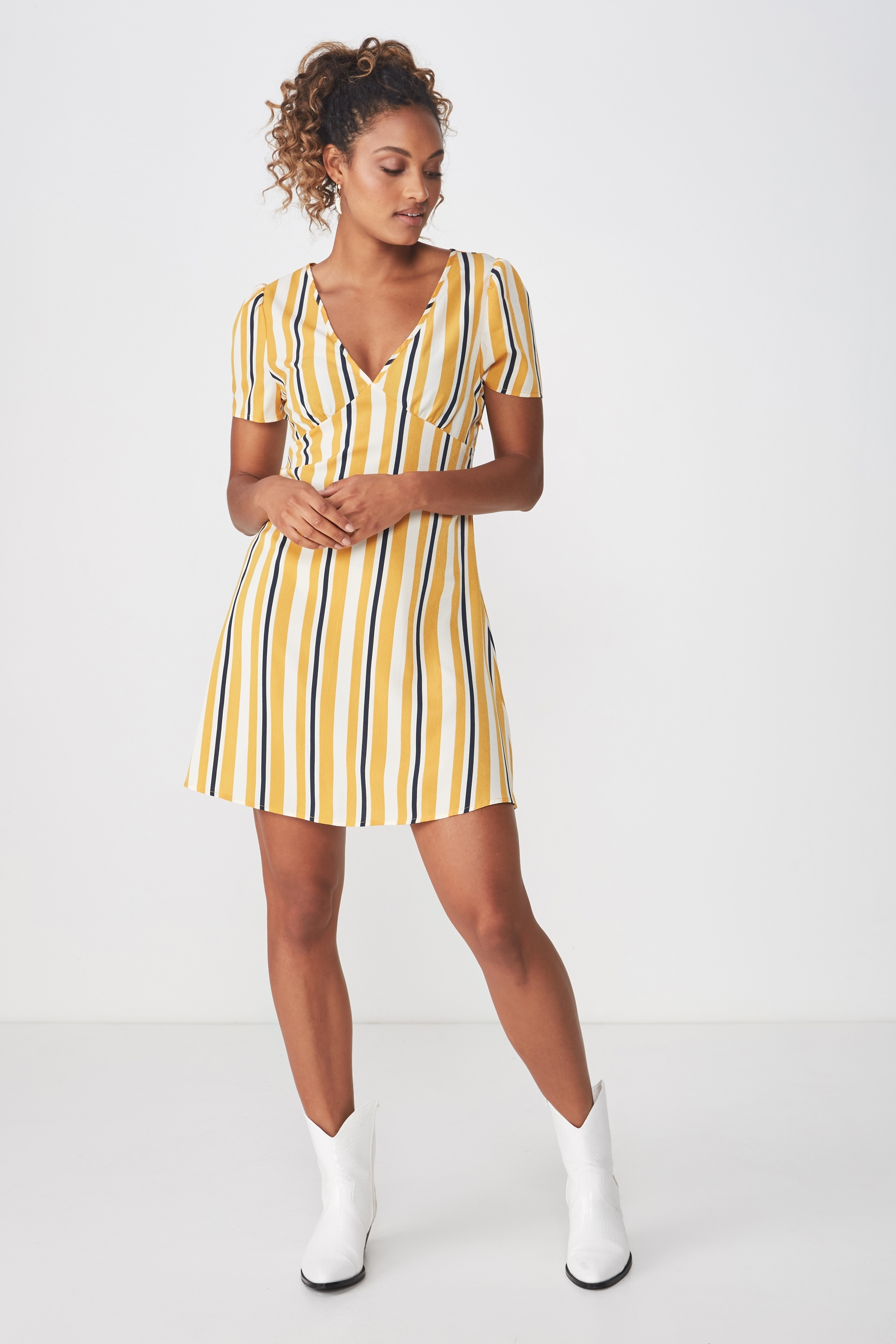 e38c33fdfcc9 Woven Dotti Deep V Puff Sleeve Mini Dress, DAISY STRIPE GOLDEN YELLOW
