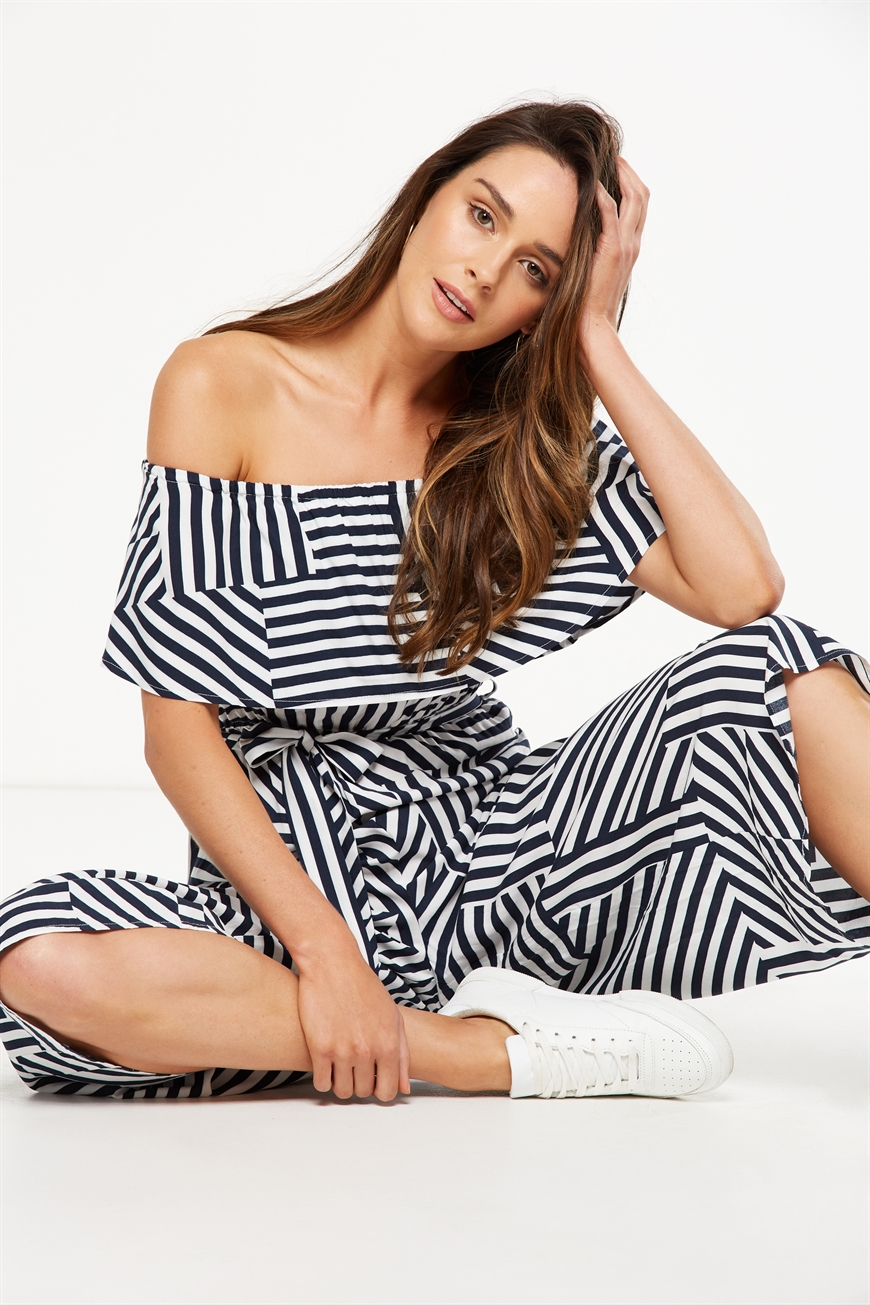 00910b345c6a Cotton On Women - Woven Betty Frill Bandeau Culotte Jumpsuit - Ina stripe  patch total eclipse